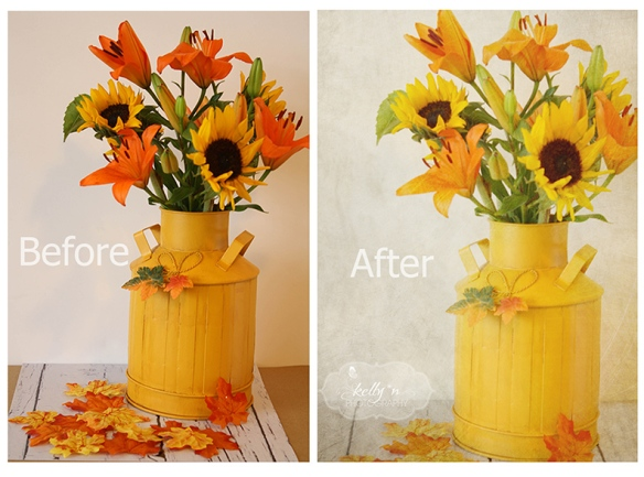before after Fall Flowers